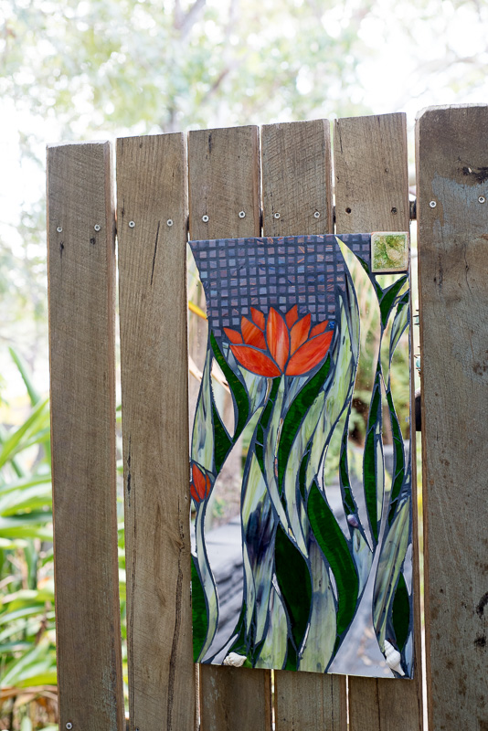 Mosaic lotus garden art by Amayz Mosaics Sunshine Coast