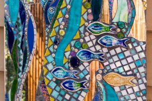 Outdoor shower splashback mosaic detail by Amayz mosaics Sunshine Coast