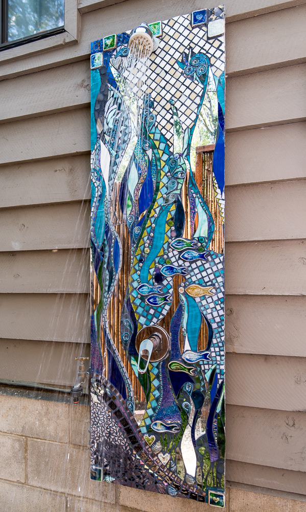 Outdoor shower splashback mosaic by Amayz Mosaics Sunshine Coast