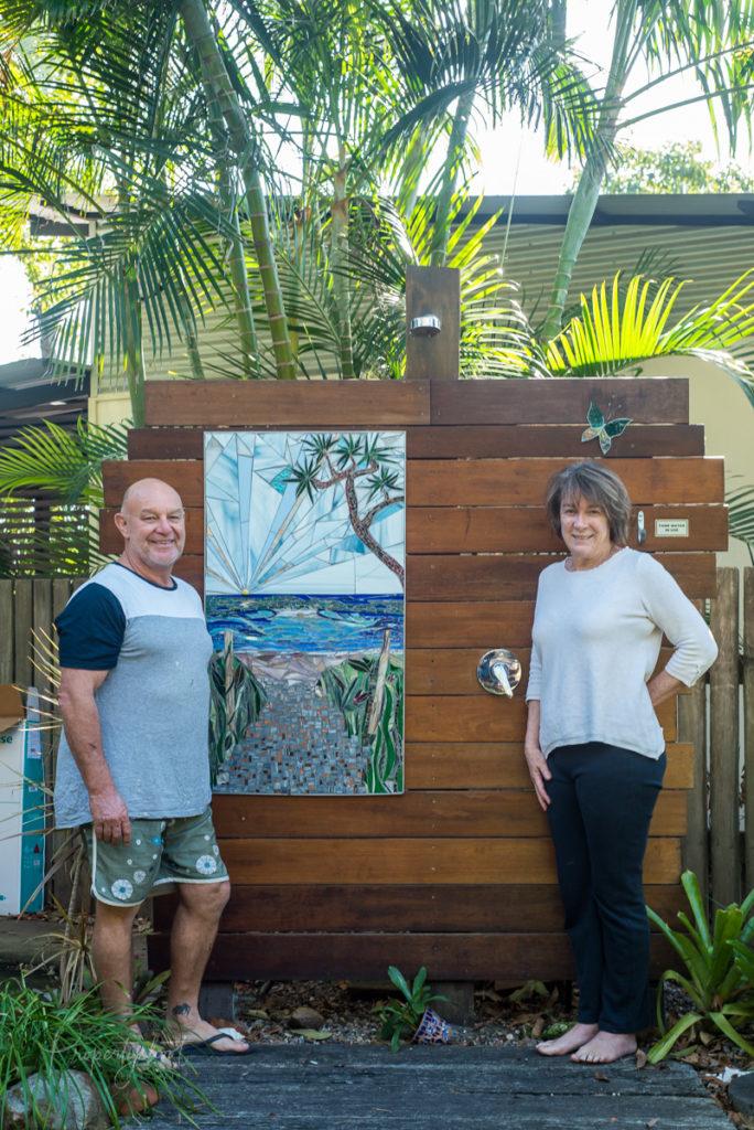 mosaic shower splashback by Amayz Mosaics Sunshine Coast