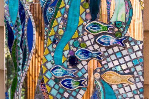 Outdoor shower splashback mosaic detail by Amayz mosaics Sunshine Coast